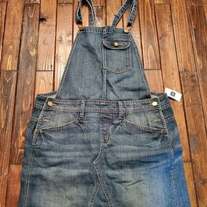 Gap denim skirt overalls NWT
